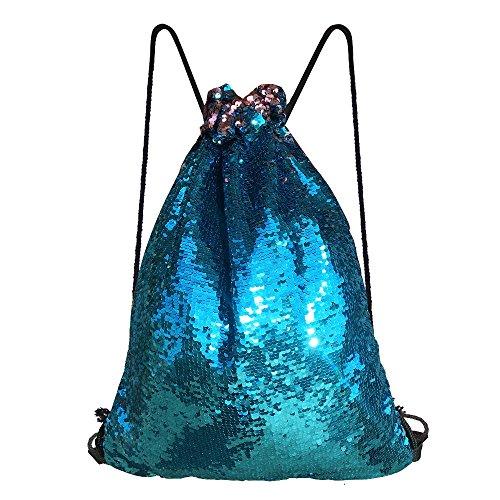 Alritz Mermaid Sequin Drawstring Bag, Reversible Sequin Backpack Glittering Outdoor Shoulder Bag Girls Boys Women (Blue/Pink) by Alritz
