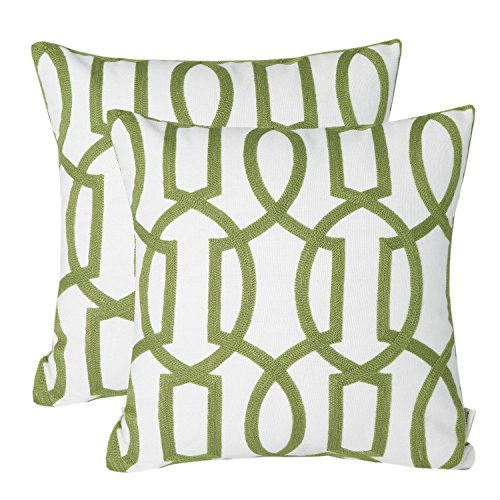Mika Home Pack of 2 Embroidery Geometric Links Accent Decorative Throw Pillow Cover Sofa Cushion Case for 18X18 Inserts Cotton Fabric Green White (Pillows Sofa Green)