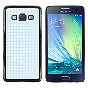 MOBMART Carcasa Funda Case Cover Armor Shell PARA Samsung Galaxy A3 - Checkered Sky Blue Pattern