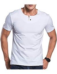 Mens Casual Slim fit Short Sleeve T-Shirt Single Button Placket Plain Henley v Neck Shirt