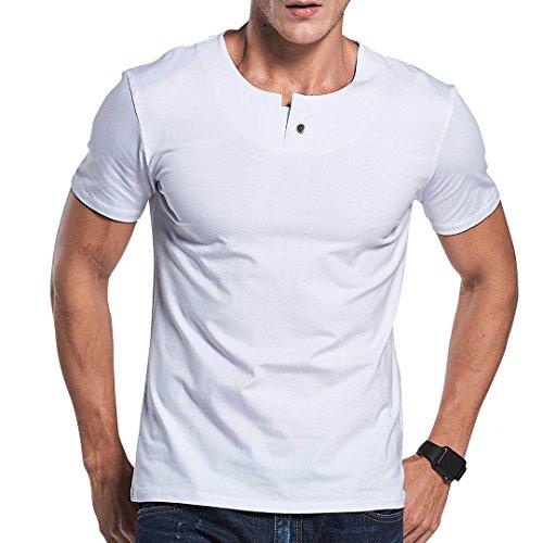 LTIFONE Mens Casual Slim Fit Short Sleeve T-Shirt Single Button Placket Plain Henley v Neck Shirt(White,M)