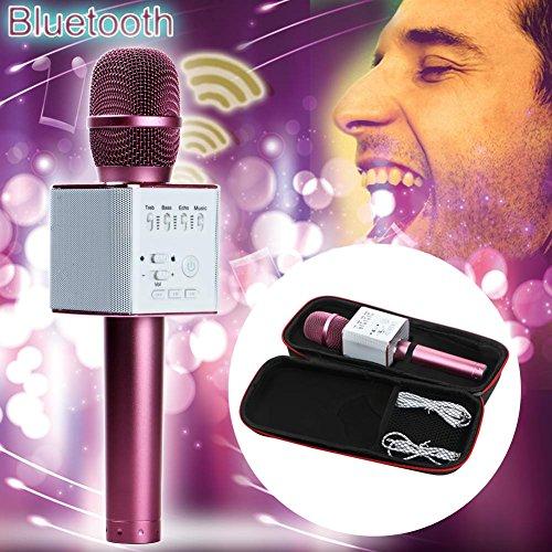 FidgetGear Q9 Wireless Handheld Microphone KTV Karaoke Stereo USB Player Bluetooth Easytake Q9 Rose Gold from FidgetGear