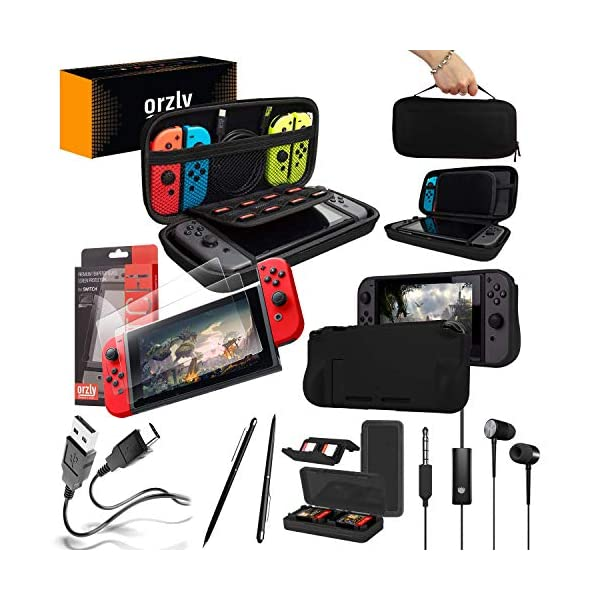 Switch Accessories Bundle - Orzly Essentials Pack for Nintendo switch Case & Screen Protector, Grip Case, Games Holder… 1