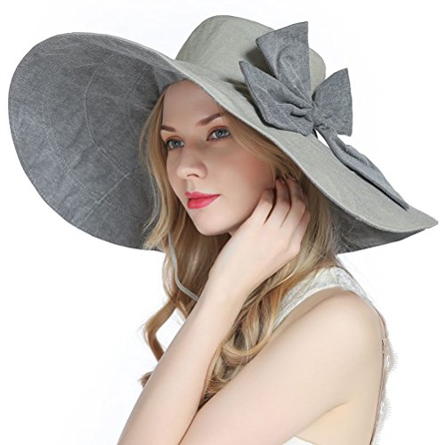RIONA Women's UPF 50+ Foldable Floppy Reversible Wide Brim Sun Beach Hat with Bowknot(Grey)]()