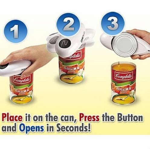 One Touch Automatic Tin Can Opener Hands Free Operation