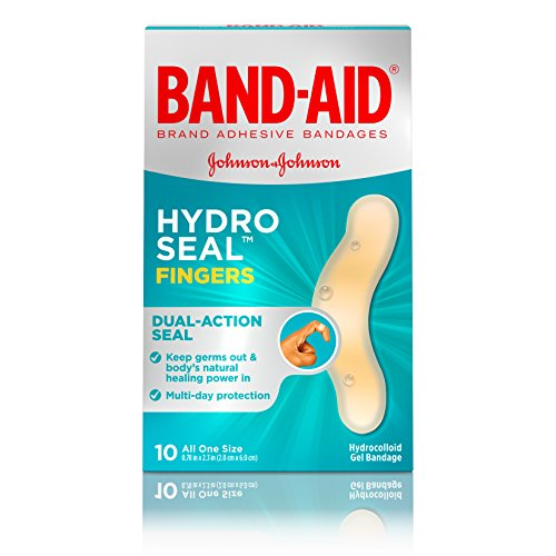 Band-Aid Brand Hydro Seal Waterproof Adhesive Bandages for Finger Cuts, Scrapes and Blisters, 10 ct (Formation Tips)