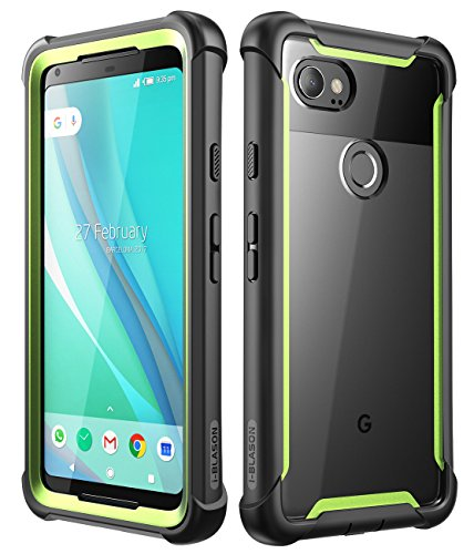 Right Side Case Race - i-Blason Case for Google Pixel 2 XL 2017 Release, [Ares] Full-Body Rugged Clear Bumper Case with Built-in Screen Protector(Black/Green)