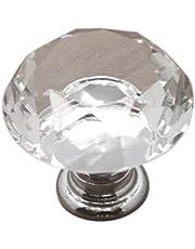 Sencillo Vida Pomos de Cristal 30mm Tiradores de Cristal para Puertas de cajones armarios de Cocina vestidor Pomos para Muebles Perillas para Cajón y Gabinete Forma de Diamante