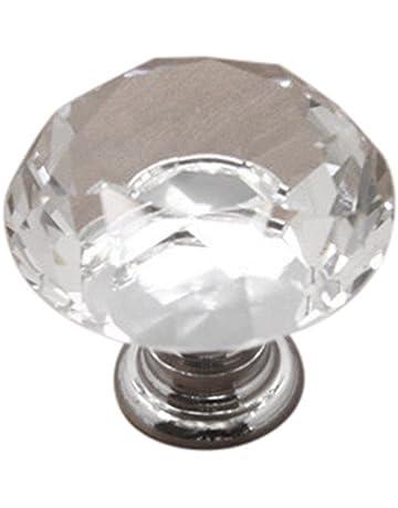 Sencillo Vida Pomos de Cristal 30mm Tiradores de Cristal para Puertas de cajones armarios de Cocina