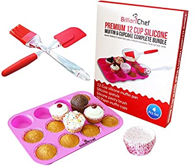 Premium 12 Cup Silicone Muffin Pan & Cupcake Pan Complete Bundle - BEAUTIFUL BAKING SET - Muffin Pan + Spatula + Pastry Brush + Paper Cups - Best Cupcake Baking Pan