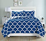 Mk Collection 3pc King/California King Modern Elegant Reversible Bedspread Set Geometric Contemporary Pattern Dark Blue/White Over Size New