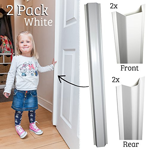 (Cardea Child Safety Door Finger Pinch Guard Hinge Protectors Pack - White (2 Pack))