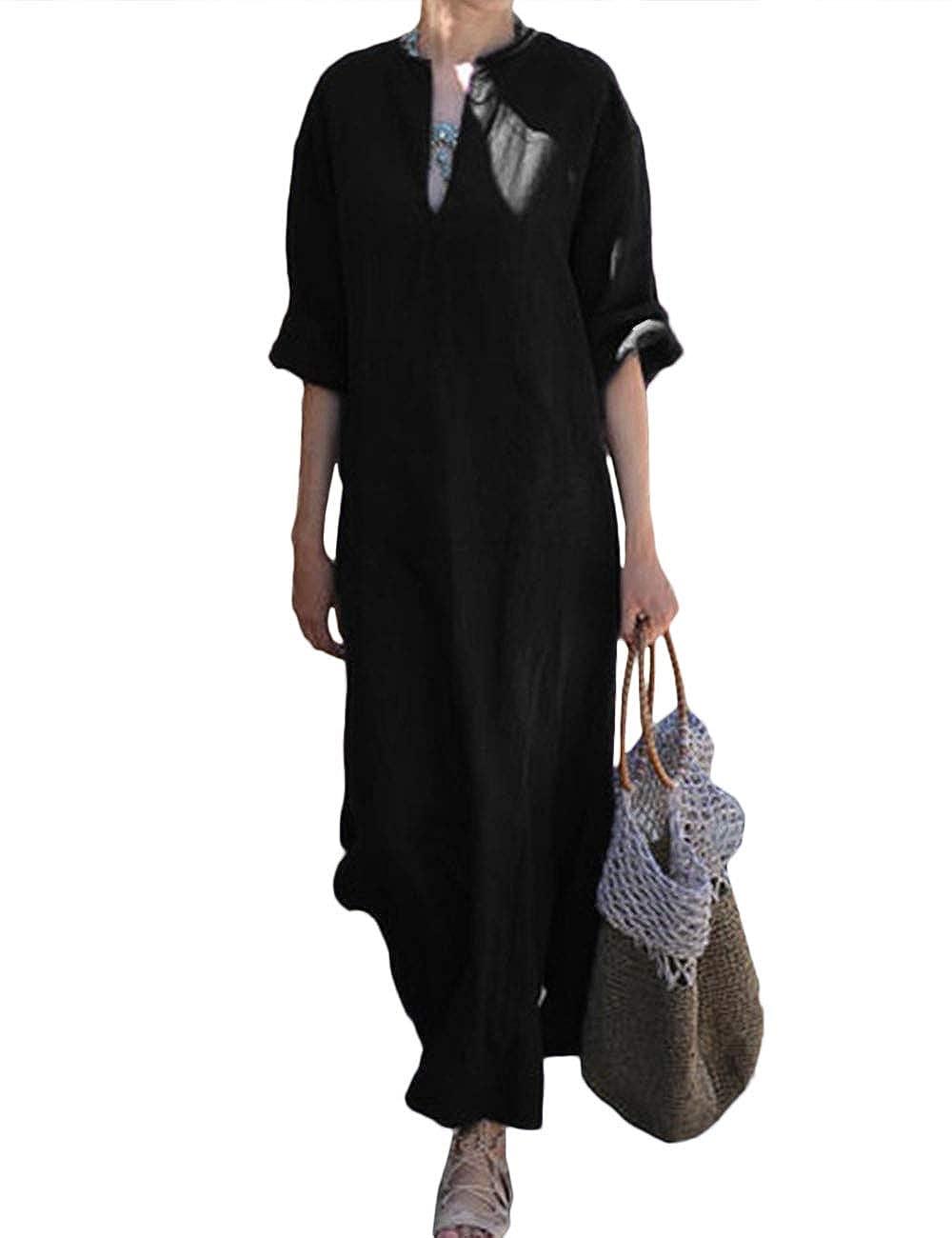 Hahaemma Damen Kleider Maxikleid Lose Kleid Langarm Retro Leinen Baumwolle Lange Kleider Elegante Bluse Breite Beilaufige Sommerkleider Damen Plus Grosse Damen Kleider Entecservicesinc Com