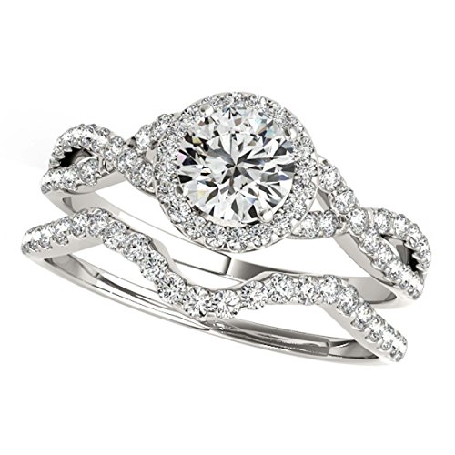 0.50 Carat Halo Daimond Engagement Bridal Ring Set 14K Solid White Gold by MauliJewels
