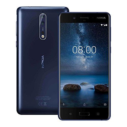 Nokia 8 (TA-1052) 4GB / 64GB 5.3-inches Dual SIM Factory Unlocked - International Stock No Warranty (Tempered Blue)