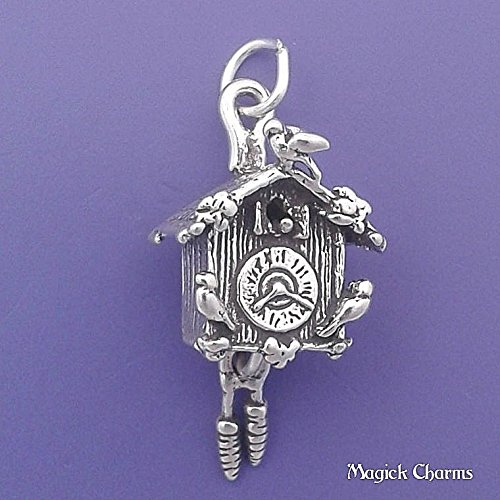 925 Sterling Silver 3-D Cuckoo Clock Movable Charm Pendant Jewelry Making Supply, Pendant, Charms, Bracelet, DIY Crafting by Wholesale Charms