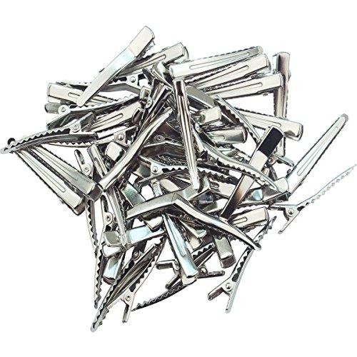 50 Pcs 1 3/4 Inch - Hair Clips Single Prong Pin Metal Alliga