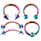 bodyjewellery 5 Pieces Surgical Steel Septum Jewelry 16g 3/8 inch 10mm Cartilage Tragus Hoop Nose Ring Eyebrow Piercing More Options