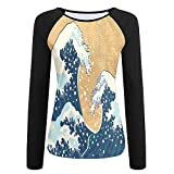 ever after high nail polish - Weiding Sea Storm In Japan Traditional Drawing Foamy Great Waves Decorative Women's Stretchy Long Sleeve Raglan Tshirt M