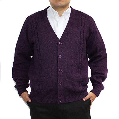 Cardigan Golf Sweater Alpaca Blend Jersey Briad V Neck Buttons an Pockets Made in Peru Purple L