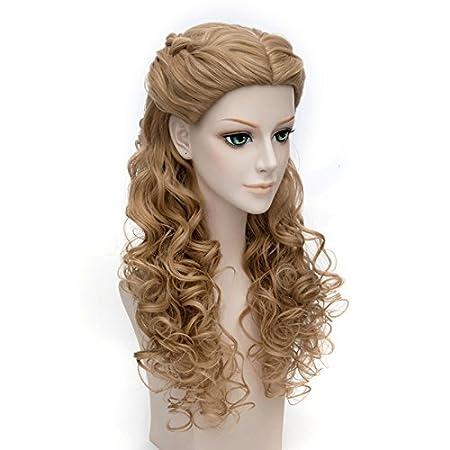 Falamka marrón pelo princesa estilo con mechones largo rizado cosplay peluca de Cenicienta: Amazon.es: Belleza