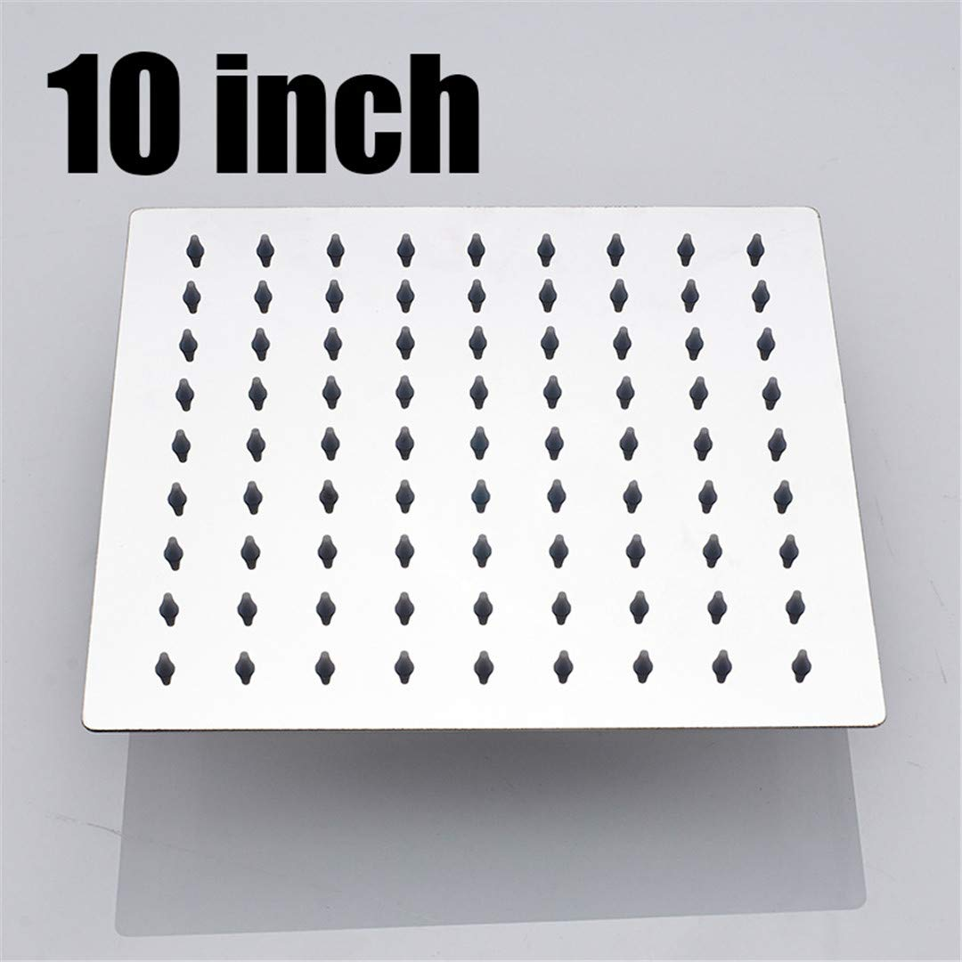 YU-Bathroom Polished Wall Mounted Square Rain Shower Head Stainless Steel Hose Wall Shower Arm Round Style 10 inch