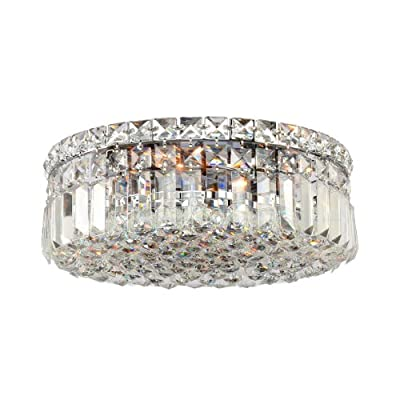 "Worldwide Lighting Cascade Collection 4 Light Chrome Finish and Clear Crystal Flush Mount Ceiling Light 14"" D x 5.5"" H Round Medium"