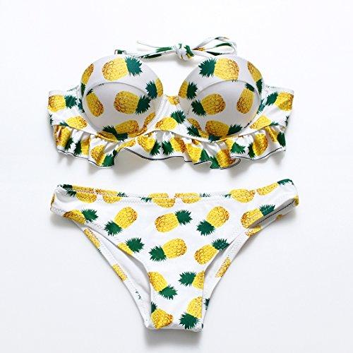 YONGYI Sello de piña volantes ondulante divide la Sra. bikini y las partículas de acero de hot springs trajes de baño tipo Piña