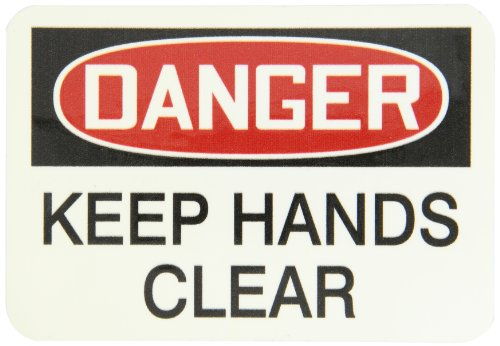 "Accuform Signs LEQM279XVE Safety Label, Legend DANGER KEEP HANDS CLEAR, 3.5"" Length x 5"" Width x 0.006"" Thickness, Adhesive Dura-Vinyl, Red/Black on White"