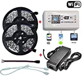 Firstsd 10M 32.8ft 5050 RGB LED Strip Light DC12V String Lights + RGB LED WIFI Remote Controller By Phone APP + 10A Adapter (5050 32.8ft 600leds RGB Full Kit, Non-waterproof Strip)