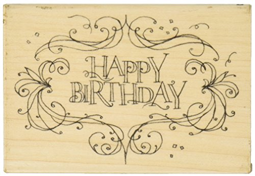 od Handle, Happy Birthday Flourish Frame (Frame Rubber Stamp)