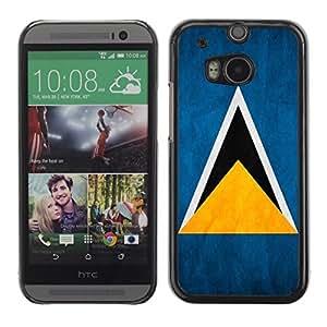 YOYO Slim PC / Aluminium Case Cover Armor Shell Portection //Saint Lucia Grunge Flag //HTC One M8