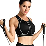 SYROKAN Women's High Impact Full Support Wire Free Padded Active Sports Bra Black 34DD