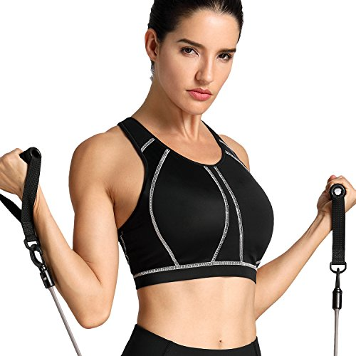 - SYROKAN Women's High Impact Full Support Wire Free Padded Active Sports Bra Black 32E