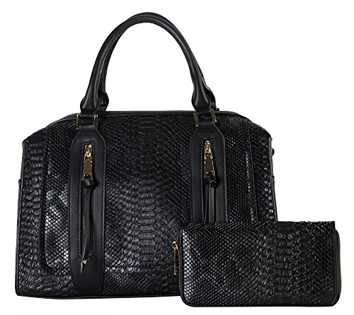 rimen-co-double-front-zippers-animal-print-tote-with-mataching-wallet-sw-3614-black