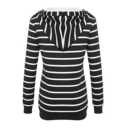 Longues Blouse shirt Imprimé Kangrunmy Sweat Tops Pullover Rayures Chemisier A Chemise Manches Tunique Chic Capuche À Femmes Sweat Hoodie Sweatshirt wqT41TI70x