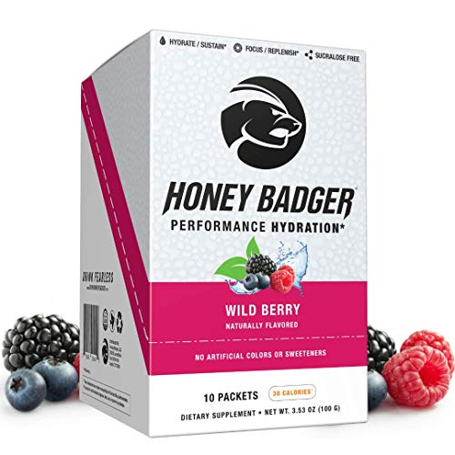 Honey Badger Vegan Hydration Electrolyte Powder | Wild Berry | Natural Rehydration Hangover Endurance Support | Caffeine Free Nootropics Sucralose Free Alpha-GPC AlphaSize + Beets | 10 Stick Packets