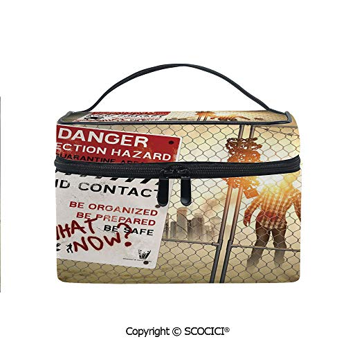 Makeup Case Double Zipper Travel Cosmetic Bags Dead Man Walking Dark Danger Scary Scene Fiction Halloween Infection Picture for Women Girls]()