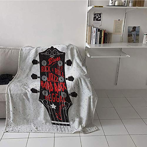 Khaki home Children's Blanket Cozy Flannel Warm All Season Blanket for (50 by 70 Inch,Guitar,Hand Drawn Genres Blues Pop Hard Rock Reggae Country Music Illustration,Vermilion Black White