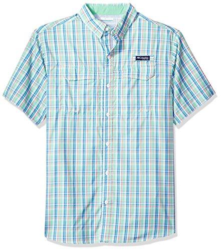 Columbia Mens Super Low Drag Short Sleeve Shirt, Kelp Plaid, Large