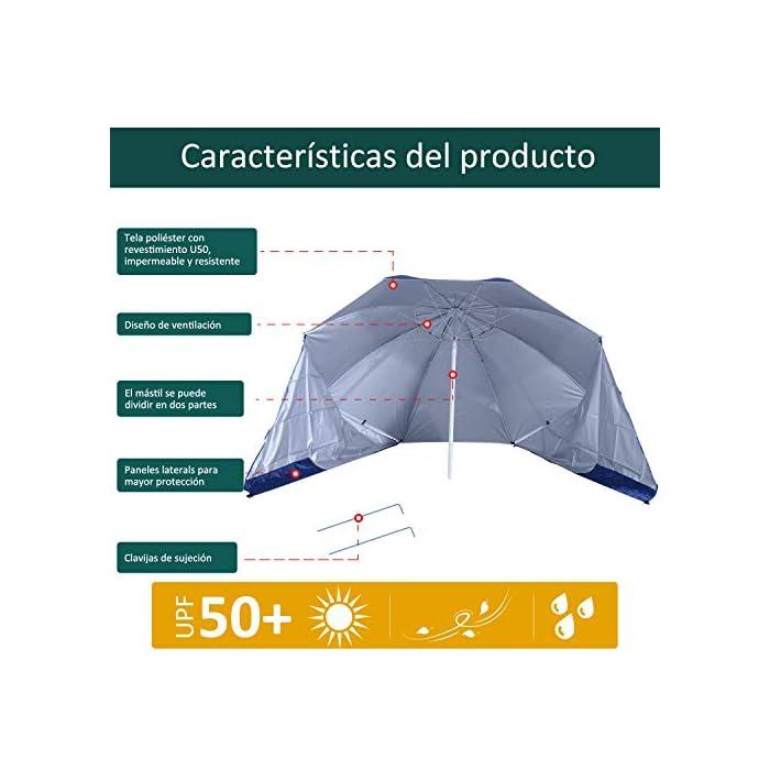 51s8MnA63oL ✅Sombrilla 2 en 1: Parasol tradicional + Tienda espaciosa con paneles laterales paravientos. Equipado con 5 ganchos y 1 lazo D para mayor fijación. ✅Cubierta de tela poliéster de alta calidad con revestimiento UV50, que protege eficazmente contra el sol y los rayos UV. Resistente a las inclemencias del tiempo. ✅Cubierta de tela poliéster de alta calidad con revestimiento UV50, que protege eficazmente contra el sol y los rayos UV. Resistente a las inclemencias del tiempo.
