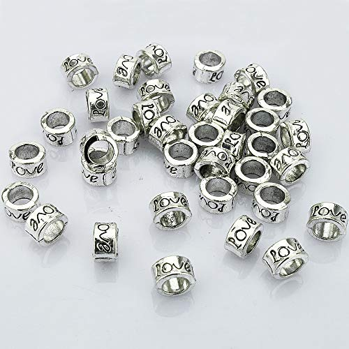 LolliBeads (TM) Antiqued Silver Tone Bracelet Jewelry Marking Large Hole Spacer Beads Round Tube Charm Beads - Spacer Silver Beads Tube