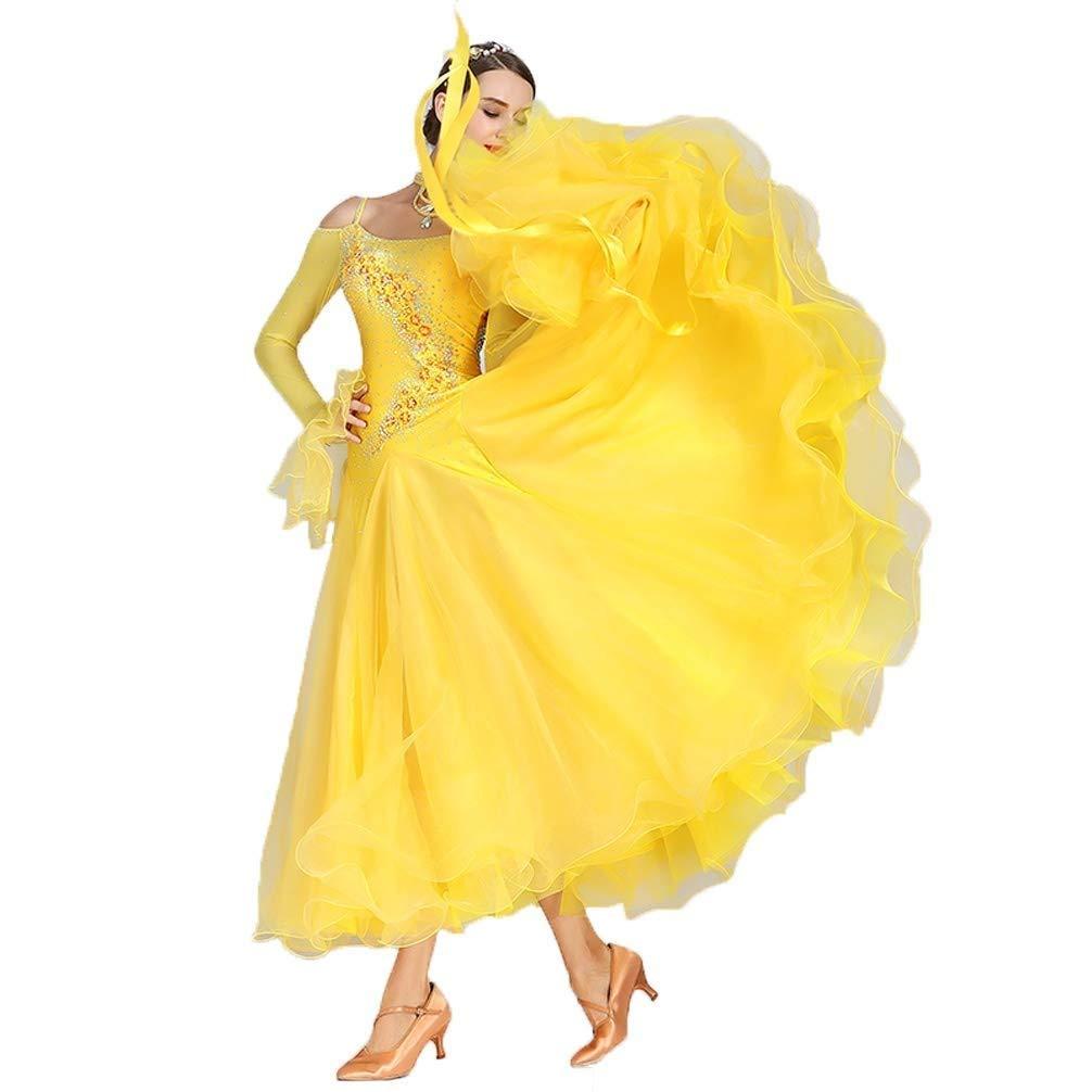 大人の女の子ワルツモダンダンスコンペティションドレス国家標準社交タンゴパフォーマンス長袖スカートラインストーンコスチューム B07Q3DYR4F  イエロー XXL