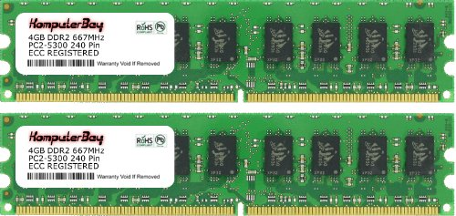 Komputerbay 8GB 2X4GB DDR2 667MHz PC2-5300 PC2-5400 DDR2 667 (240 PIN) ECC Registered DIMM Desktop Memory 8 GB