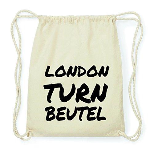 JOllify LONDON Hipster Turnbeutel Tasche Rucksack aus Baumwolle - Farbe: natur Design: Turnbeutel