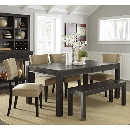 Ashley Gavelston 6 Piece Dining Set with Bench in Beige