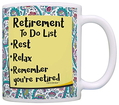 Retirement Gifts for Women Retirement To Do List Gift Coffee Mug Tea Cup Paisley