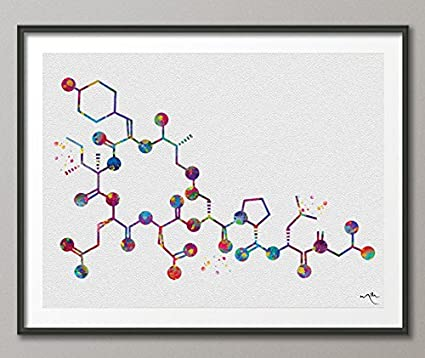 Amazon.com: Oxytocin Molecule Watercolor Print Medical Art Love ...