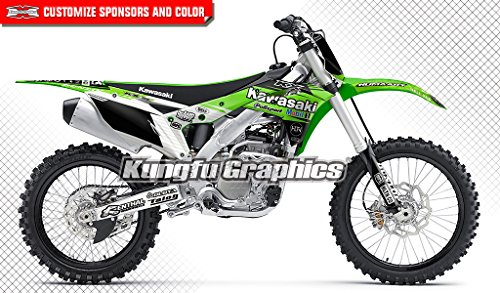 Kungfu Graphics Custom Decal Kit for Kawasaki KX250F KXF250 2017 2018, Black White Green, Style 010