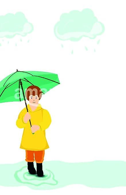 Elegante chica sosteniendo paraguas verde sobre fondo azul nubes de tormenta para Monsoon temporada. Póster